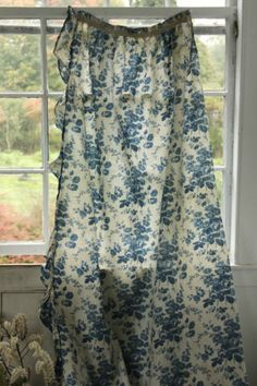 Antique French ruffled curtain Prussian BLUE printed cotton bed curtain 1860 ~*~