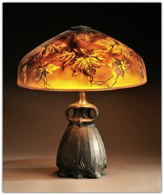 Pittsburg Autumn Leaves Table Lamp.  Art glass and patinated metal.  Pittsburgh, Pennsylvania, c. 1910.
