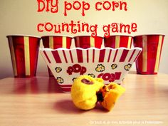 Easy DIY pop corn counting game to build number sense and recognition and practice counting.