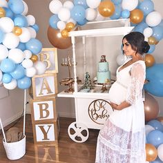 baby shower decorations 92746073563425349 - Blue white and gold balloon arch at Yasmina's baby boy shower Source by Baby Shower Mum, Deco Baby Shower, White Baby Showers, Baby Shower Gifts, Blue Baby Shower Dress, Maternity Baby Shower Dresses, Babby Shower Ideas, Baby Shower Nails Boy, Baby Shower Neutral