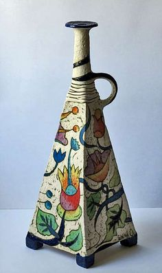 Inna Olshansky ceramic bottle with floral decoration