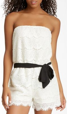 Everleigh Strapless Lace Romper