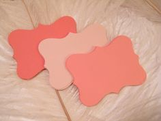 This listing is for a total of 75 blank cardstock bracket style cards / gift tags.  (25 Light Coral Blush / 25 Medium Coral / 25 Dark Coral)