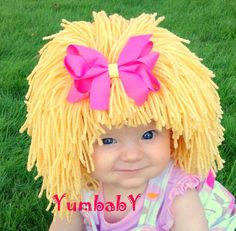 Cabbage Patch Hat, Beanie Wig, Children, Toddler, Pageant Costume, Cabbage Patch Inspired, Photo Props baby Clothes by YumbabY on Etsy https://www.etsy.com/listing/115782526/cabbage-patch-hat-beanie-wig-children