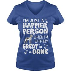 HAPPIER PERSON GREAT DANE - 100% Cotton Adult 30/1s Tee Shirt #Great Dane #Great Daneshirts #iloveGreat Dane # tshirts