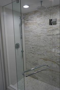 Glass #Bathroom with rain head shower