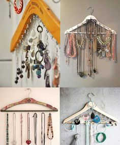 Organizing earrings, bracelets, and other small jewelry on a wooden closet hangar. #bathroom #jewelry #organization #closet #storage #accessories