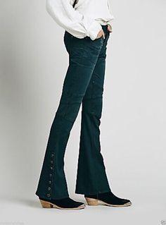 NWOT $128 Free People flare Jeans wake blue Skyler Seamed Skinny 27 #FreePeople #Sklyerseamedskinny
