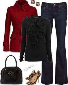 """""""Red+Black+Leopard"""" by jill-hammel on Polyvore"""