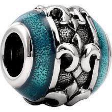 Sterling Silver Kera Enamel Fleur-de-Lis Bead Charm 28473 :: Fleur de Lis Beads :: Luck & Symbol Beads :: Beads and Bracelets :: Generous Gems