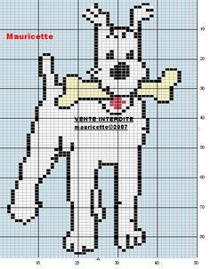 Milou - Struppi - Kuifje - Bobby Cross Stitch For Kids, Cross Stitch Books, Cross Stitch Animals, Cross Stitch Charts, Cross Stitch Designs, Cross Stitch Patterns, Stitch Character, Perler Beads, Cross Stitch Freebies