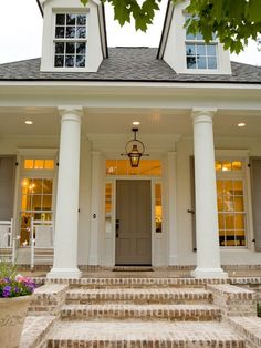 Love beadboard ceilings, brickwork, white and tan shutters. Lantern, transom above door and side windows. Brick Porch, Porch Windows, Porch Entry, Brick Walkway, Big Windows, Front Porch Stairs, Porch Beams, Front Windows, Transom Windows