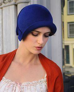 Mary Lou Blue royal blue felt cloche by behidadolicmillinery