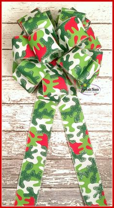Christmas BowGreen White Red Camouflage Bow by TootsieSuesWreaths