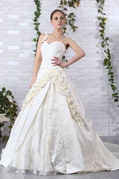 Simple Ball Gown Spaghetti Strap Chapel Train Satin Wedding Dress CWLT130CC $392.00 wedding dress, wedding dress, wedding dress, wedding dress, wedding dress