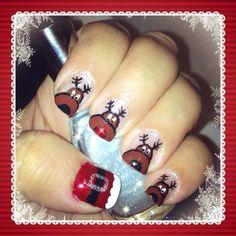 Rudolph Christmas nail art Rudolph Christmas, Christmas Nail Art, Christmas Ideas, Xmas, Winter Nails, Nail Inspo, Toe Nails, Pretty Nails, Nail Designs