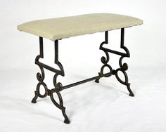 Vintage Victorian Wrought Iron Bench / Vintage Stool