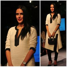Neha Dhupia in Abraham & Thakore during Lakme Fashion Week 2014..