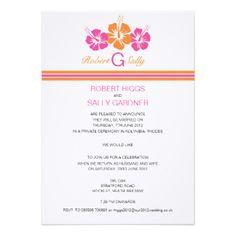 "Monogram Hibiscus Flower Wedding 5"" X 7"" Invitation Card"