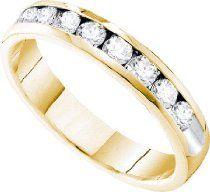 14k Yellow Gold Round Diamond Channel Set Womens Wedding Anniversary Band Ring