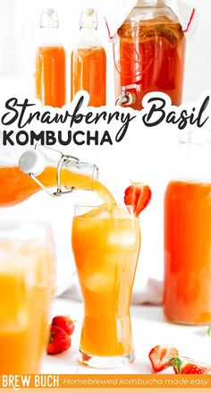 This Strawberry Basil Kombucha is the epitome of summer. It's bursting with berry flavor and a hint of basil! #kombucha #fermentation #strawberry #basil #drink #beverage