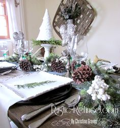 Rustic Tablescape for the Christmas Holiday Rustic Christmas, Christmas Holidays, Christmas Tablescapes, Table Decorations, Home Decor, Christmas Vacation, Christmas Tables, Primitive Christmas, Christmas Placemats