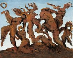Max Ernst (German, 1891-1976)  The Horde, 1927Oil of canvas(the most expensive Ernst's work of art)