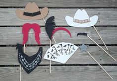 Cowboy Western Themed Photo Booth Props Set of by FiftyEightFacets, $32.75