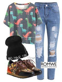 """ROMWE"" by deedee-pekarik ❤ liked on Polyvore featuring romwe, Tshirt and printedshirt"