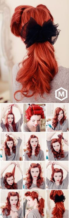 Pinup Ponytail - How To Tutorial LOVE the red hair and the pin up look Ombré Hair, Pin Up Hair, Hair Dos, Wave Hair, Curly Hair, Short Hair, Chignon Bouffant, Cabello Pin Up, Twisted Hair