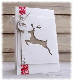 Discover recipes, home ideas, style inspiration and other ideas to try. Christmas Card Crafts, Christmas Cards To Make, Christmas Deer, Xmas Cards, Diy Cards, Handmade Christmas, Holiday Cards, Card Making Inspiration, Making Ideas