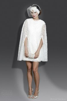 modern trousseau couture bridal fall 2014 molly short wedding dress with cape