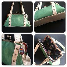 Mint and White Glitter Kisslock Handbag by Disgraceland on Etsy, $45.00