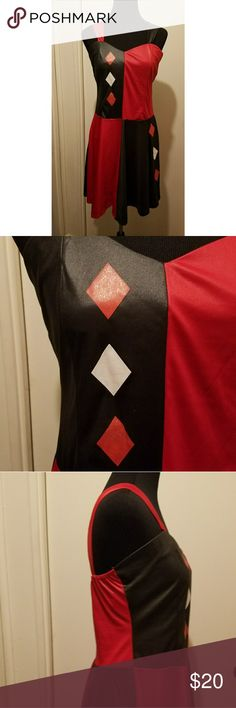Harley Quinn costume Perfect for Halloween. Harley Quinn costume dress. Red and black. Pre-owned. Good condition. Size large. spirit halloween Dresses