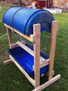 Upper cover is way too narrow to protect feed from our blowing rain. It would need to be 3x wider on all sides. Skids should be heavier material, preferably treated poles. To prevent it from blowing over, I would make skids extend in both directions by notching them like a log cabin. Also give some added weight.