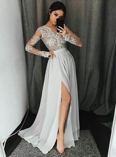 A-Line V-Neck Long Sleeves Floor-Length Grey Prom Dress with Appliques