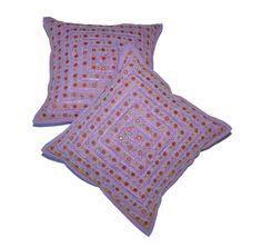 Amazon.com - 2 Orange Mirror Work Embroidery Indian Sari Throw Pillow Toss Cushion Covers - Decorative Pillows