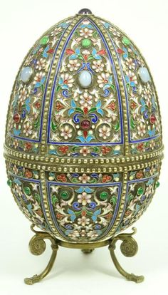 RUSSIAN SILVER & ENAMEL JEWELED EGG BOX Russian Cloisonne 🔻🔹💮Faberge Art /Russian Art : 💮🉐🔻More At FOSTERGINGER @ Pinterest 🔻🉐💮🔺