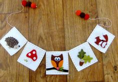 Hand Appliqued Bunting  FOREST FRIENDS  by LittleKittenHomemade, $40.00