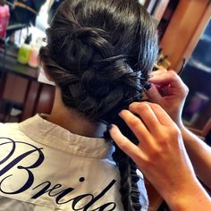 Braided bride! This beauty opted for a luxurious side braid over a traditional updo and she looked GREAT!  (hair by Jess) #braids #bride #beauty #buffalosalon