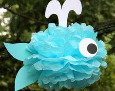 Shark tissue paper pom pom kit under the by TheLittlePartyShopNY