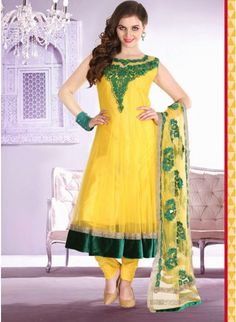 Lemon yellow embroidered gorgious #anarkali with beads work