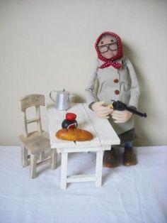 Old woman with shopping + gun. Modelled in Sculpey, wire, balsa wood, cloth Cake Art, Old Women, Dublin Ireland, Wood, Creative, Gun, January, Fairy, Cakes