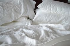 Rough Linen™ Strong White pillowscape - linen is happiest when well used