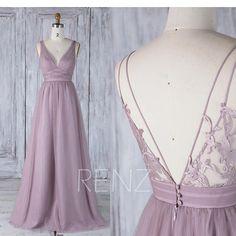 2017 Dark Mauve Tulle Bridesmaid Dress Ruched V Neck Wedding
