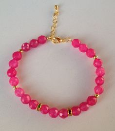 Fuchsia jade bracelet pulseira de jade rosa