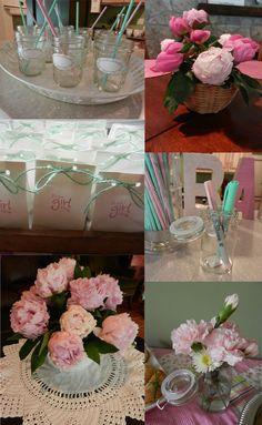 baby shower decor! Mason jars flower centerpiece