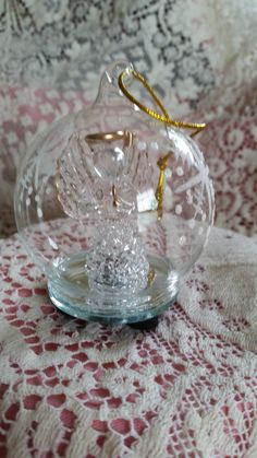 Spun Glass Angel Illuminating Color Changing Ornament with gift box
