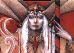 Elric, last emperor of Melniboné.  Rendering by Eric Gould for the US cover of first book in Michael Moorcock's series.