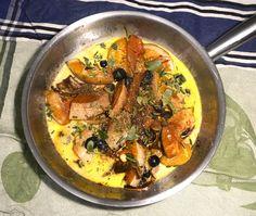 Gebratene Stücke vom Butternut Kürbis mit Blauen Trauben und einer Sauce aus…